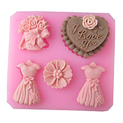Wedding Love Full Dress Baking Fondant Cake Choclate Candy Mold,L8.3cm*W7.7cm*H1.8cm