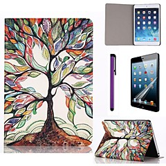 Multicolour Tree Pattern PU Leather Case with Screen Protector and Stylus for iPad mini 1/2/3