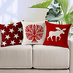 σετ 3 κόκκινο και λευκό βαμβάκι / λινό διακοσμητικό κάλυμμα μαξιλαριού