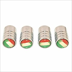 DIY Italian Flag Pattern Universal Tire Air Valve Caps--Silver(4PCS)