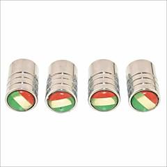 diy İtalyan bayrağı deseni evrensel lastik hava valf kapakları - gümüş (4 adet)