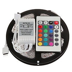 Waterproof 5M 300X3528 SMD RGB LED Strip Light with 24Key Remote Controller (DC12V)