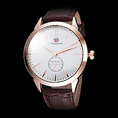 FORSINING Men's Simple Design Gold Case Black Leather Band Automatic Self Wind Wrist Watch (Assorted Colors)