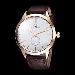 forsining Männer einfaches Design Goldgehäuse schwarzes Lederband automatische Selbstwind Armbanduhr (farbig sortiert)