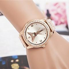 strass moda torre delle donne in oro rosa cintura in acciaio orologio da polso al quarzo