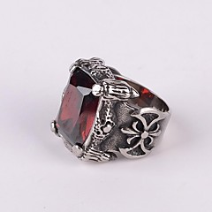 Z&X®  Punk Gothick Style Vintage Titanium Steel Men's Statement Ring (2 Colors Options: Red, Black)