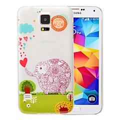 Cartoon Elephant Pattern PC Brushed Case for Samsung Galaxy S5 I9600
