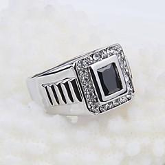 stile coreano pietra nera strass quadrato contratto anello degli uomini di