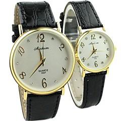 orologio quadrante rotondo pu moda del quarzo della fascia di coppia (colori assortiti)