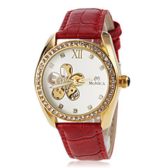 Women's Automatic Self Wind Hollow Flower Dial Leather Band Wrist Watch (Assorted Colors) Cool Watches Unique Watches