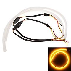 2 * 60cm diurna llevada auto funcionando luz de carretera drl estilo tubo de luz de tira 12v luz blanca + amarillo