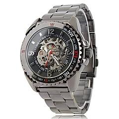 reloj de pulsera de los hombres de banda auto-mecánica esqueleto de acero negro