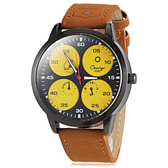 Men's Round Dial Military Khaki Color PU Band Quartz Wrist Watch (Assorted Colors)