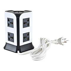 Overload Protector 5V/2.1A 2 Floor UK Adapter Power Strips with 8 Universal Outlets and 4 USB