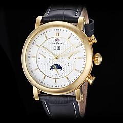 forsining Männer automatische mechanische sechs Zeiger Goldgehäuse Lederband Armbanduhr (farbig sortiert)