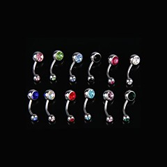 12PCS Surgical Steel Mix Crystal Belly Navel Barbell Bar Ring