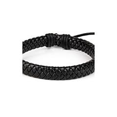 confortável couro fresco pulseira de disco dos homens ajustáveis todo o couro trançado preto jóia (1 peça)