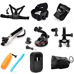toz 9 in1 kit peito + cinta de cabeça + braço banda + monopé + ventosa + guiador canote + flutuante gripfor gopor hero4 / 3 + / 3