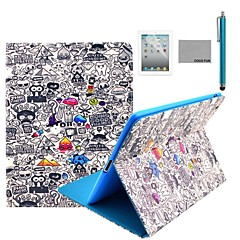 COCO FUN® Cartoon Graffiti Pattern PU Leather Flip Stand Case with Screen Protector and Stylus for Apple iPad 2/3/4