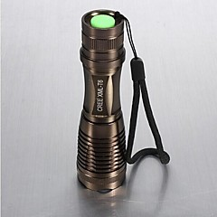LS021 CREE XM-L T6 12W 1800LM Zoomable LED Flashlight(Brown 1x18650 or 3XAAA)