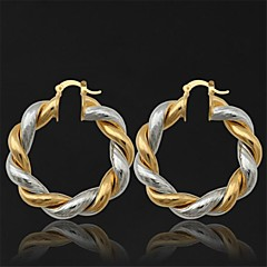U7® Vintage Women's 18K Real Gold Platinum Double Colored Gold Plated Earrings Basketball Wives Hoop Earrings for Women