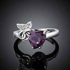 Women's Classical Purple Zircon Ring 8#(1Pc)