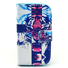 Cross Tiger Pattern PU Leahter Full Body Cover with Stand and Card Slot for Samsung Galaxy Trend Plus S7580/S7562