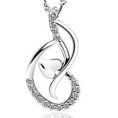 925 Sterling Silver is Beautiful Heart Love Dance Pendant Necklace With Water Wave Necklace