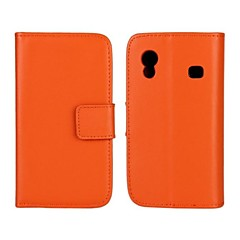 Solid Color Pattern Genuine Leather Full Body Case with Stand and Card Slot for Samsung Galaxy Ace S5830