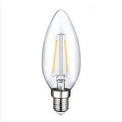2W E14 LED Filament Bulbs C35 2PCS COB 220LM lm Warm White Decorative AC 220-240 V