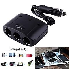 1-til-3 bil cigarettænder splitter adapter m / dobbelt USB-udgang (12 ~ 24V)