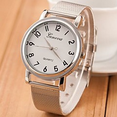 Frauen Silber Stahlband Quarz Analog Armbanduhr (farbig sortiert)