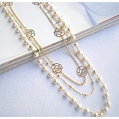 Love Is Your Sweater Chain Pendant Long Drill Flower Multilayer Choker Necklaces