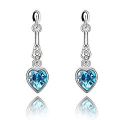 Cherish Elegant Drop Earring Plated With 18K True Platinum Aquamarine Crystallized Austrian Crystal Rhinestone