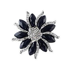 2014 nieuwe aankomst vrouwen dikke zwarte edelsteen bloem vormige strass broche