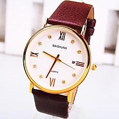 Men's Round Dial Single Calendar PU Band Quartz Fashion Watch Cool Watch Unique Watch