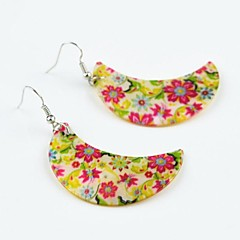 Toonykelly Fashionable Flower Moon  Natural Shell Cowry Dangle Drop Earring(1Pair)