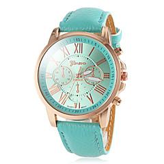 ローマの数はPUバンドアナログクオーツ腕時計(アソートカラー)をダイヤルする女性のラウンドゴールドケース