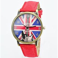 relojes de moda unisex de cuarzo de los hombres reloj del dial de la bandera uk correa de cuero ocasional de la muñeca (colores surtidos)