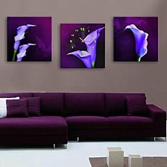 E-Home® lila Blüten Uhr im Segeltuch 3pcs