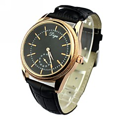 Men's Second Hand Alone Round Dial PU Band Quartz Analog Wrist Watch(Assorted Colors)