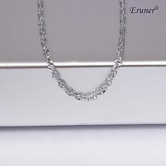 Eruner®Unisex 1MM Water Ripple Silver Chain Necklace NO.10