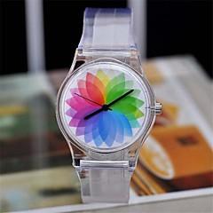 女性の魔法の色は透明なプラスチックの時計円形高品質の時計