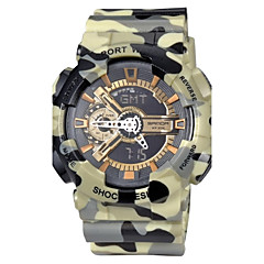 Herre Armbåndsur Japansk Quartz LCD / Kalender / Kronograf / Vandafvisende / Dual Tidszoner / alarm Gummi Band Rød / Grøn / Gråt Brand