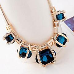 Feminino Colares Declaração Cristal imitação de diamante Liga Jóias de Luxo Moda Jóias da indicação Azul Cor Ecrã Jóias ParaFesta Ocasião