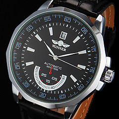 Men's Auto-Mechanical Black Leather Band Wrist Watch