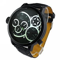mannen grote ronde wijzerplaat dubbele beweging dual tijdzone pu band quartz analoog horloge (verschillende kleuren)