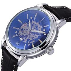 auto-mekanik retro berongga menghubungi pu band kulit jam tangan pria (berbagai macam warna)