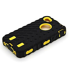 Contract Color Tyre Grain 3-Proof Special Novelty Silicone and PC Hard Case with Matte for iPhone 4/4S (Assorted Colors)