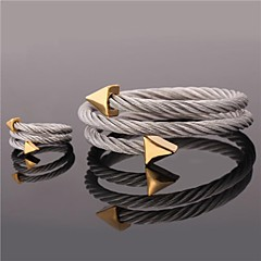 U7®Stainless Steel Arrows Cuff Bracelet Rings 18K Real Gold Plated Wrap Bangle Ring Jewelry Set